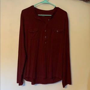 Burgundy 1/4 Buttoned Top
